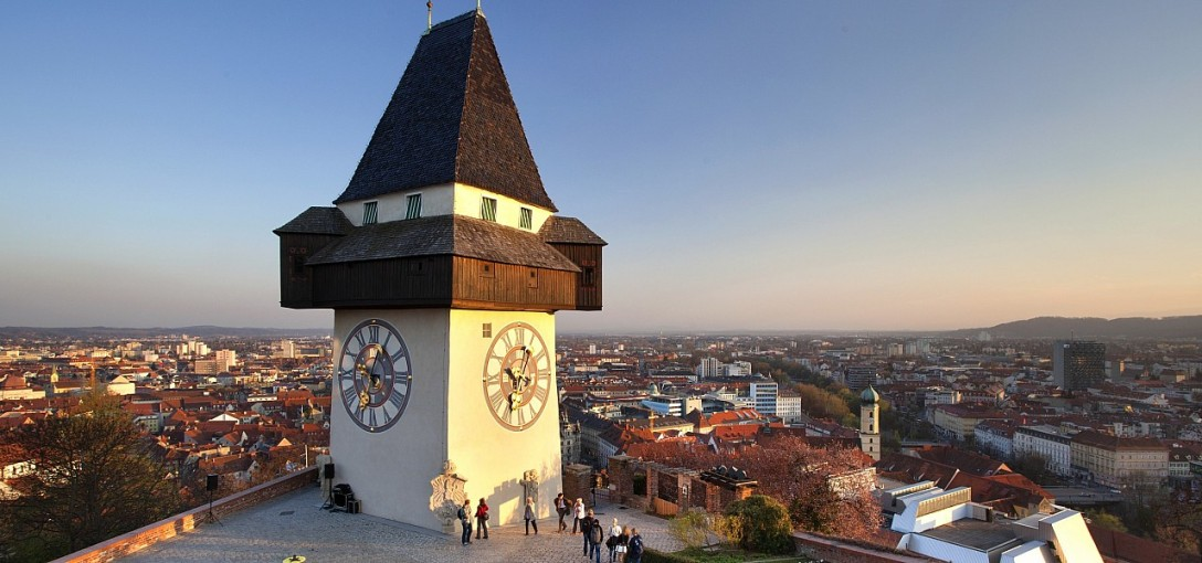 Torre do relógio da cidade de Graz, na Áustria, que recebe a próxima conferência da PLAIN (Crédito: Österreich Werbung / Julius Silver)