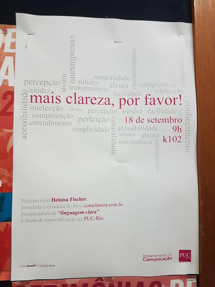 cartaz palestra mais clareza pf